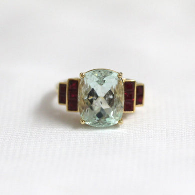9ct Yellow Gold 5.5ct Aquamarine and Ruby Cocktail Ring