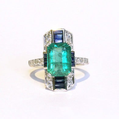 18ct White Gold 4ct Emerald, Sapphire and Diamond Cocktail Ring