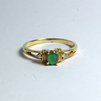 18ct Yellow Gold Solid Black Opal and Diamond Ring