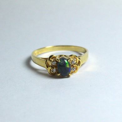 18ct Yellow Gold Solid Opal and Diamond Ring