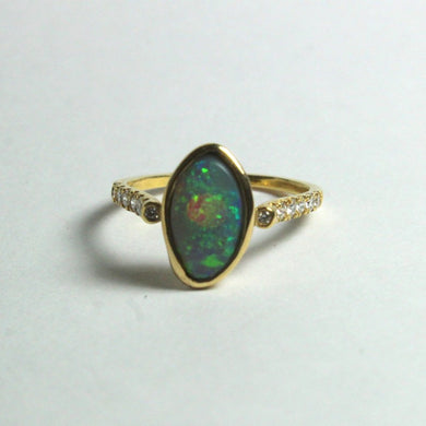 9ct Yellow Gold Solid Opal and Diamond Ring