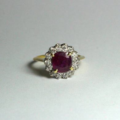 18ct Yellow Gold 2.8ct Natural Ruby and Diamond Dress Ring