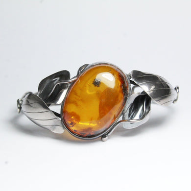 Antique Silver Baltic Honey Amber Bangle