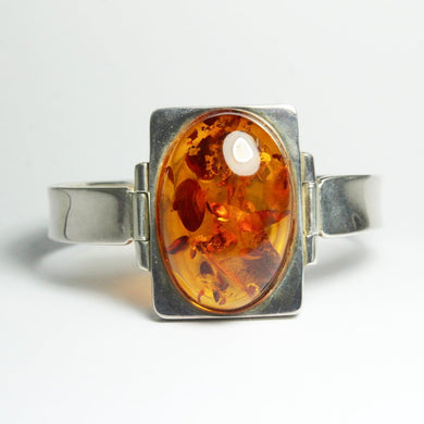 Antique Silver Baltic Honey Amber Hinged Bangle