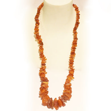 Antique Rough Baltic Amber Graduated Beaded Necklace