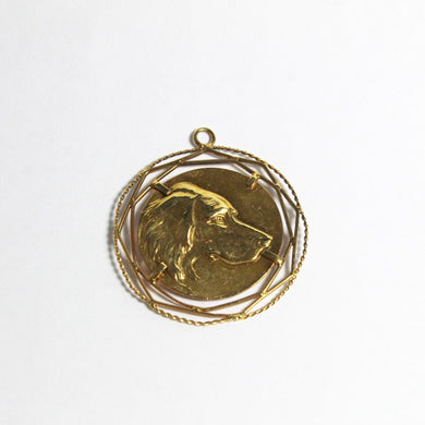 Antique 9ct Yellow Gold English Springer Spaniel Medallion