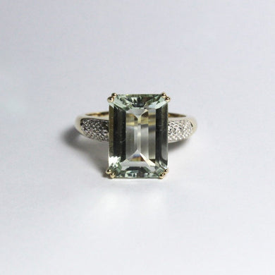 9ct Yellow Gold Aquamarine and Diamond Dress Ring
