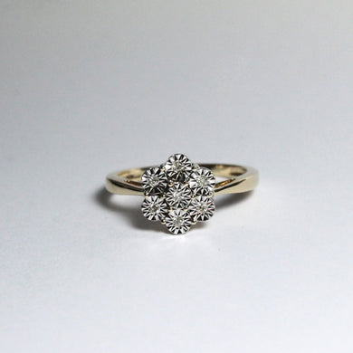 9ct Yellow Gold Diamond Daisy Cluster Ring