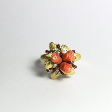 14ct Yellow Gold Rose Carved Coral and Ruby Cocktail Ring