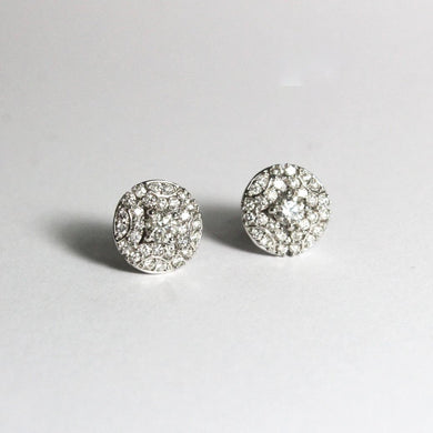 9ct White Gold Diamond Cluster Stud Earrings and Pendant Set