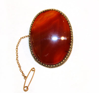 Antique 9ct Yellow Gold Carnelian Brooch