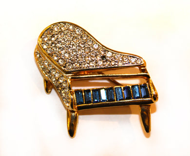 Crystal Grand Piano Vintage Brooch