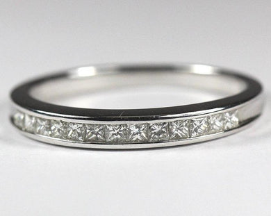 18ct White Gold Thin Ladies Diamond Band (V)