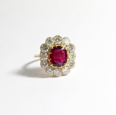 18ct Yellow Gold 2.51ct Natural Ruby and Diamond Cocktail Ring (POA)