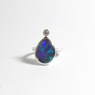 18ct White Gold 5.02ct Solid Opal and Diamond Cocktail Ring