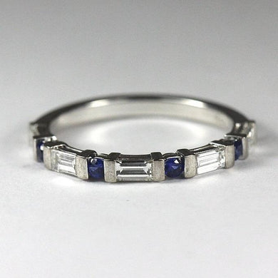 18ct White Gold Sapphire and Baguette Diamond Band (V)