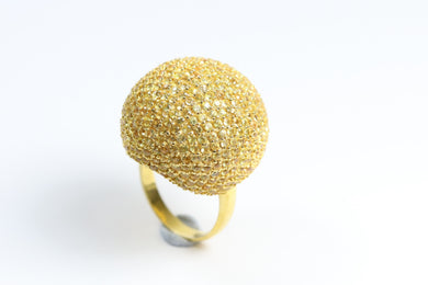 Sterling Silver Yellow Sapphire Ball Ring