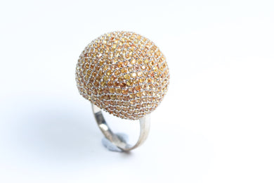 Sterling Silver Orange Sapphire Ball Ring