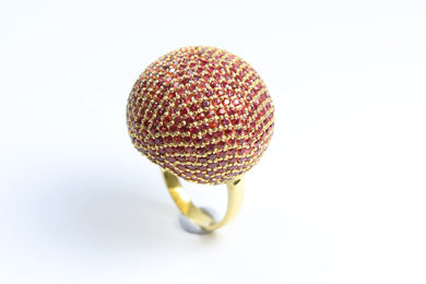 Sterling Silver Gold Plated Red Sapphire Ball Ring