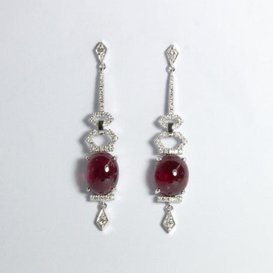 9ct White Gold 12.76ct Cabochon Rubellite Tourmaline and Diamond Stud Drop Earrings