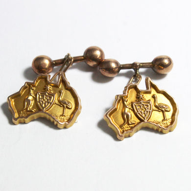 Antique 9ct Yellow Gold Australian Coat of Arms Cufflinks