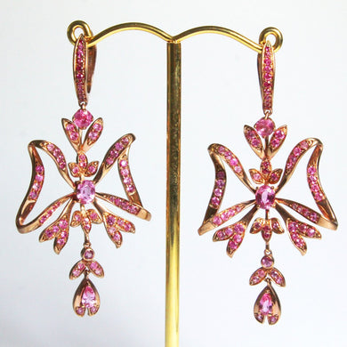9ct Rose Gold Pink Sapphire Ribbon Drop Earrings