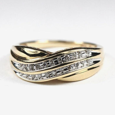 Retro 10ct Yellow Gold Diamond Ring (V)