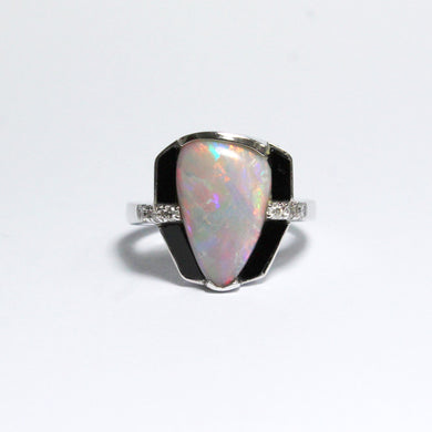 9ct White Gold 2.90ct Solid White Opal, Black Onyx and Diamond Dress Ring