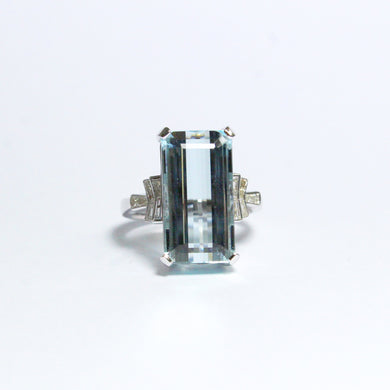 9ct White Gold 12.57ct Aquamarine and Diamond Cocktail Ring