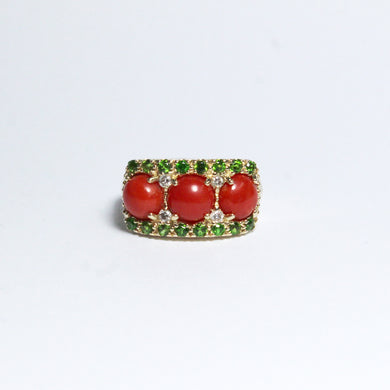 9ct Yellow Gold Momo Coral, Diopside and Diamond Bridge Ring