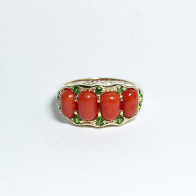 9ct Yellow Gold Momo Coral and Chrome Diopside Bridge Ring