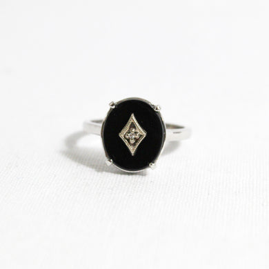 9ct Gold Black Onyx and Diamond Ring