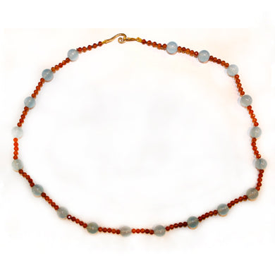 Sterling Silver Spessartite Garnet and Blue Chalcedony Beaded Necklace