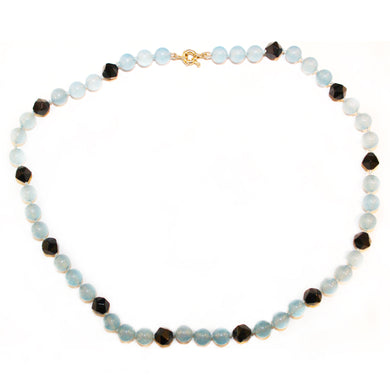 Sterling Silver Blue Chalcedony and Black Onyx Beaded Necklace