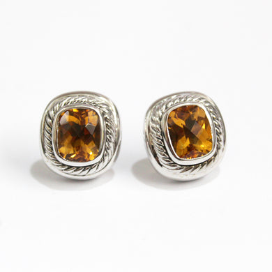 Vintage Sterling Silver Maderia Citrine Clip On Earrings