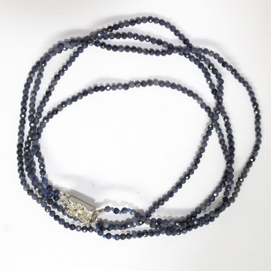 Silver Natural Sapphire Beaded Multi-Strand Necklace