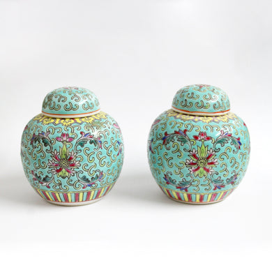 Antique  Pale Teal, Yellow and Pink Decorated Porcelain Twin Urns