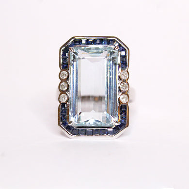 18ct White Gold 10.89ct Aquamarine, Sapphire and Diamond Cocktail Ring
