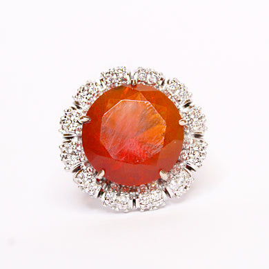 18ct White Gold 12.59ct Mexican Fire Opal and Diamond Cocktail Ring