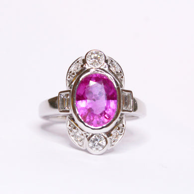 9ct White Gold 3.01ct Pink Sapphire and Diamond Dress Ring