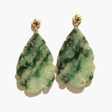 9ct Yellow Gold Carved Jadeite Stud Drop Earrings
