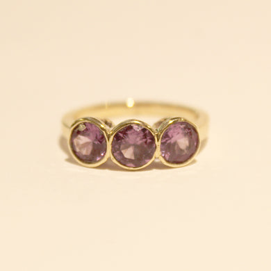 9ct Yellow Gold Synthetic Purple Sapphire Trilogy Ring