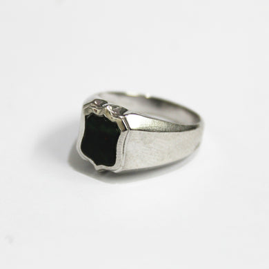 9ct White Gold Bloodstone Signet Ring