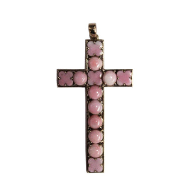9ct Yellow Gold Carved Pink Conch Shell Cross Pendant