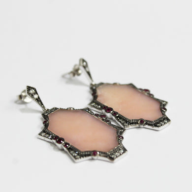 9ct White Gold Pink Peruvian Opal Ruby and Stud Drop Earrings