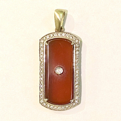 9ct White Gold Carnelian and Diamond Pendant