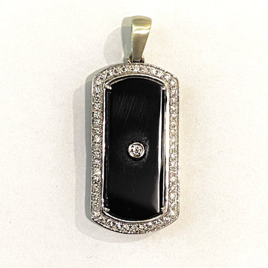 9ct White Gold Black Onyx and Diamond Pendant
