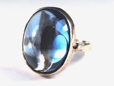Sterling Silver Gold Plate 25ct+ Cabochon Topaz Cocktail Ring