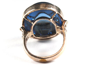 Super Large 25ct+Cabochon Topaz Rose Gold Plate Ring