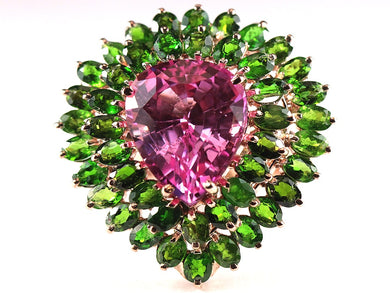 Large Syn Pink Topaz Ring surrounded by two rows of Diopside